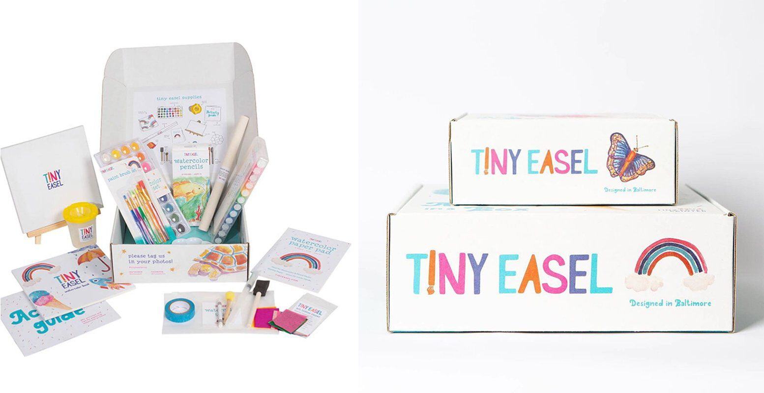 Tiny Easel custom boxes, kit contents, watercolor art supplies